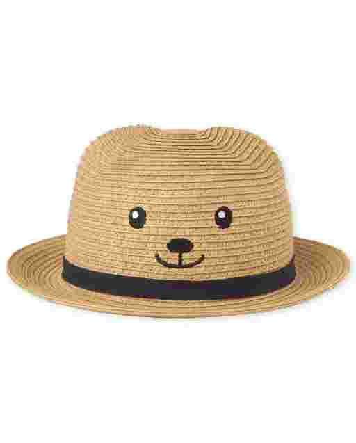 Baby Boys Bear Straw Hat