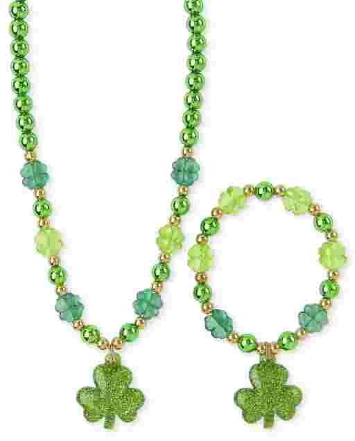 Girls St. Patrick's Day Beaded Necklace And Bracelet Set