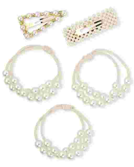 Girls Faux Pearl Clip And Hair Tie 5-Piece Hair Set