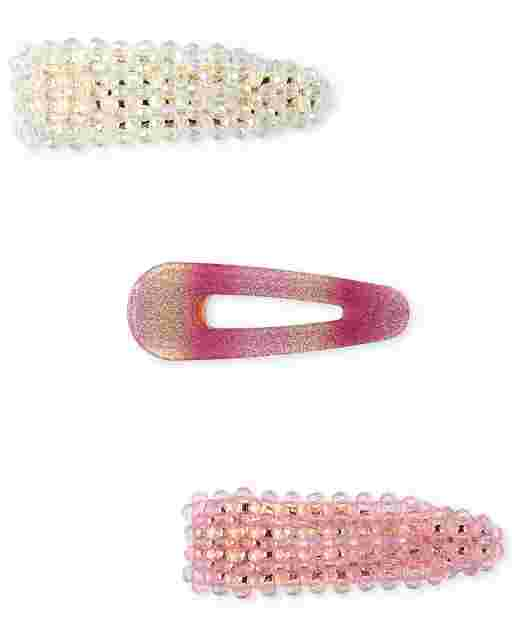 Girls Beaded And Glitter Hair Clip 3-Pack