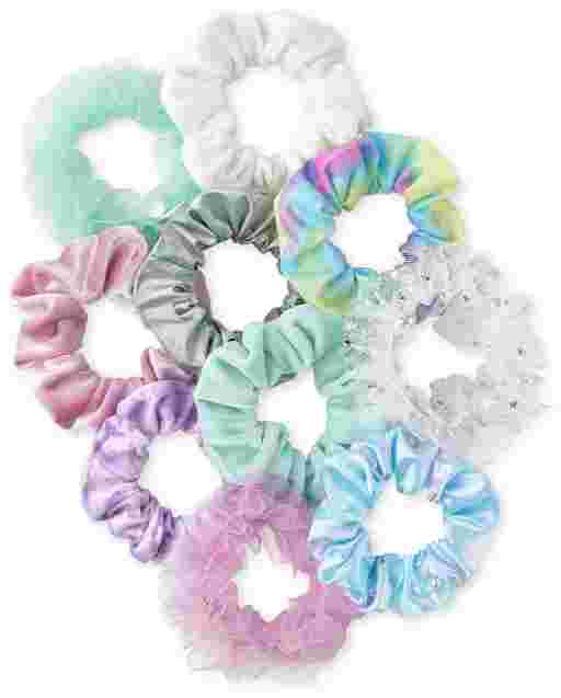 Girls Velvet Scrunchie 10-Pack