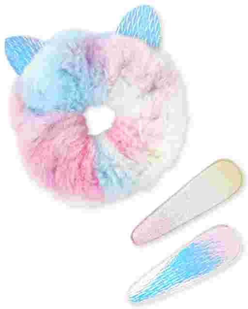 Girls Rainbow Hair Clip And Faux Fur Scrunchie 3-Piece Hair Set