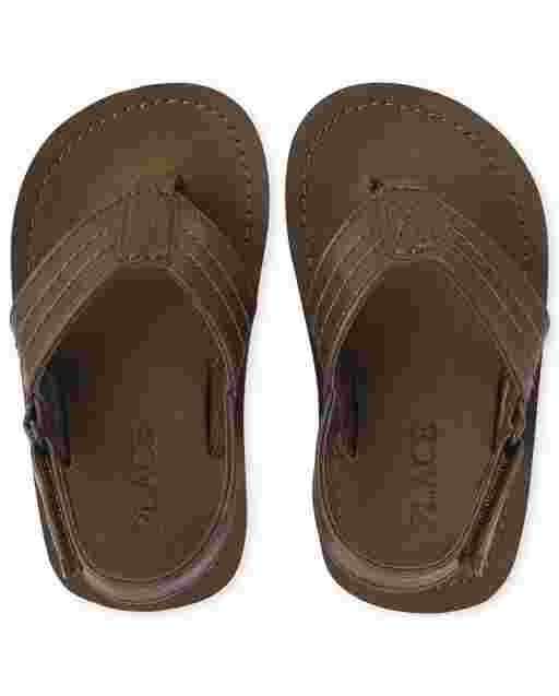 Toddler Boys Faux Leather Flip Flops