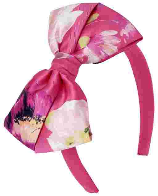 Diadema con lazo floral para niñas