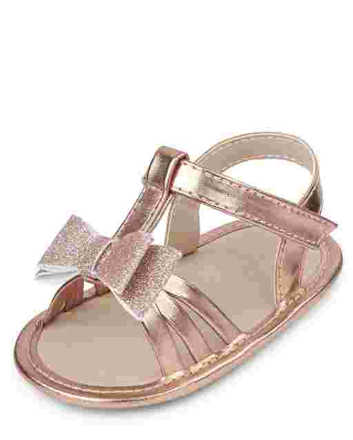 Baby Girls Metallic Glitter Bow Sandals