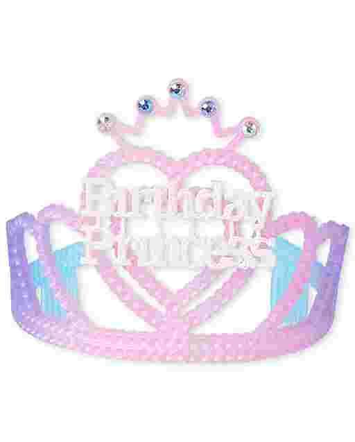 Diadema con tiara de princesa de cumpleaños para niñas