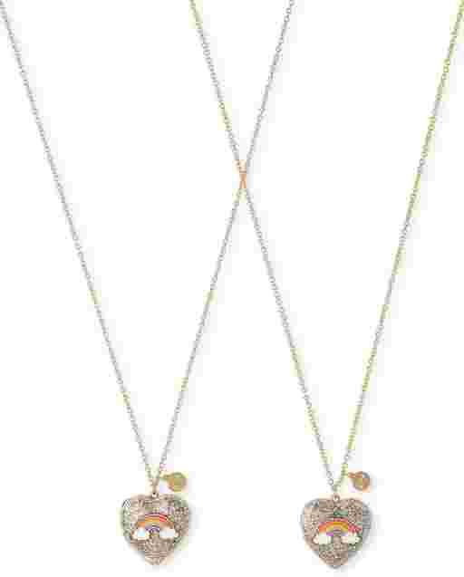 Paquete de 2 collares con medallón de corazón con arcoíris