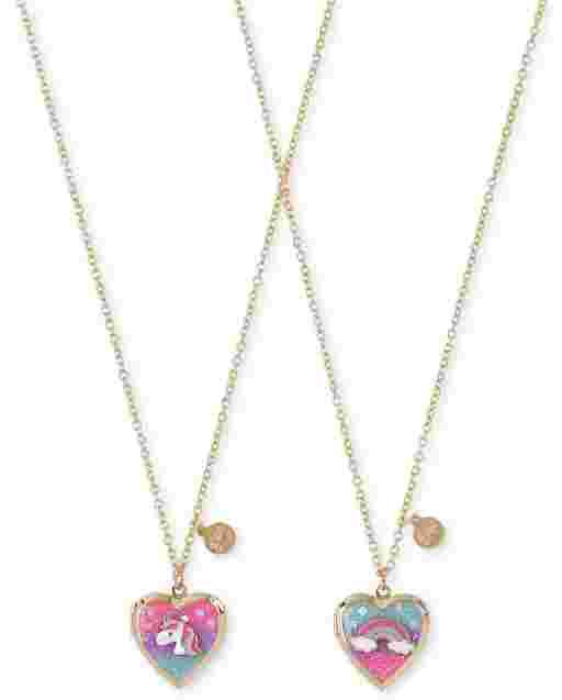 Paquete de 2 collar con medallón de corazón de unicornio arcoíris para niñas