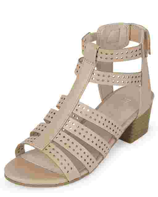 Girls Faux Leather Gladiator Heel Sandals