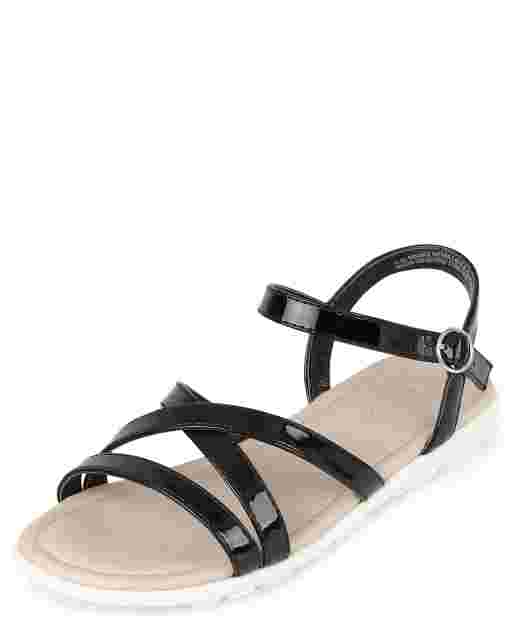 Girls Faux Leather Strappy Sandals