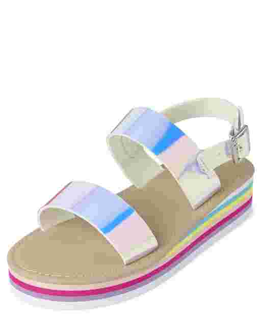 Girls Holographic Rainbow Faux Leather Platform Sandals