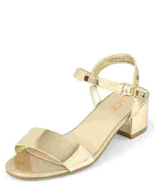 Girls Metallic Faux Leather Heel Sandals