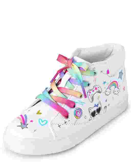 Girls Unicorn Doodle Faux Leather Hi Top Sneakers