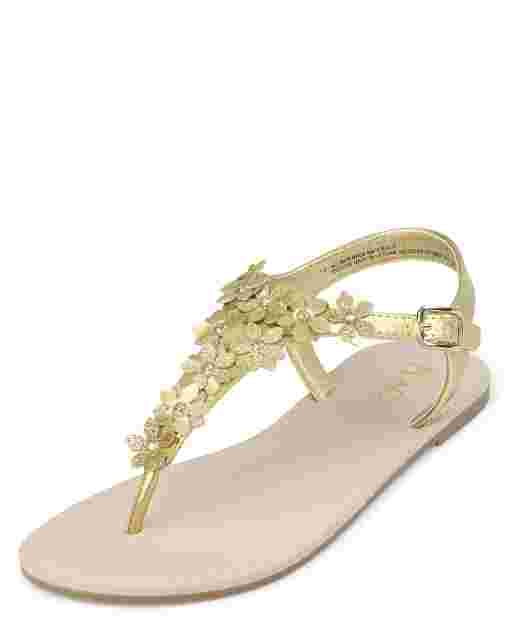 Girls Metallic Flower T Strap Sandals
