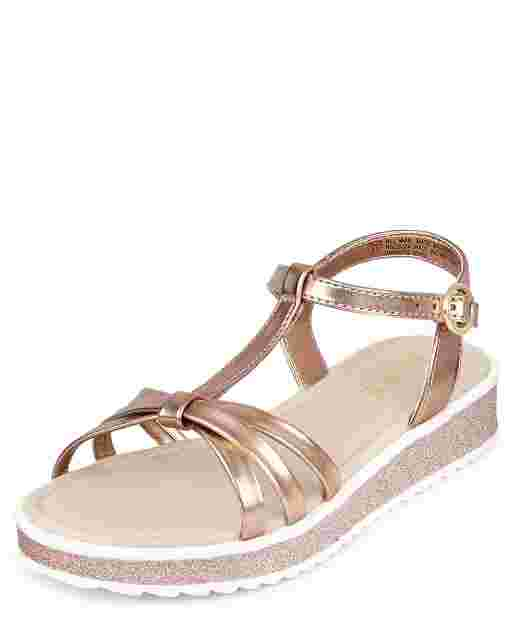Girls Metallic T Strap Sandals