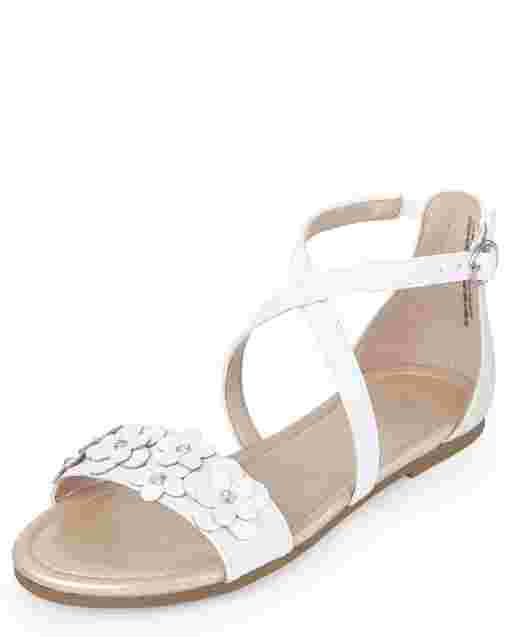 Girls Iridescent Flower Faux Leather Cross Strap Sandals