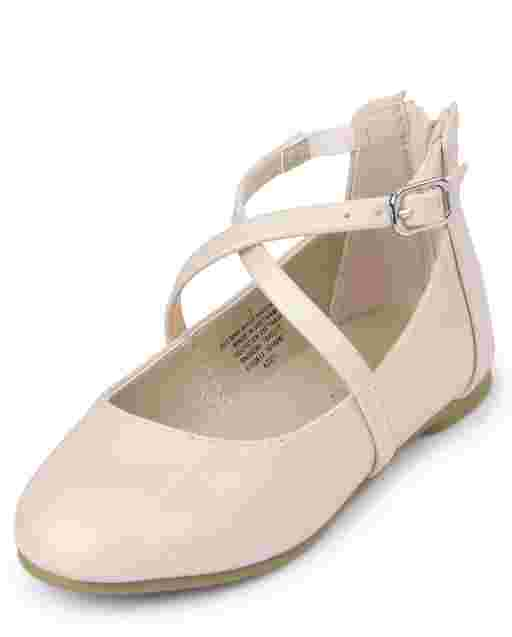 Toddler Girls Shimmer Faux Leather Cross Strap Ballet Flats