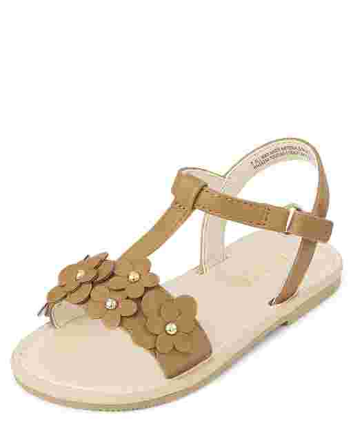 Toddler Girls Flower T Strap Sandals