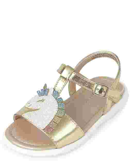 Toddler Girls Metallic Faux Leather Unicorn Sandals