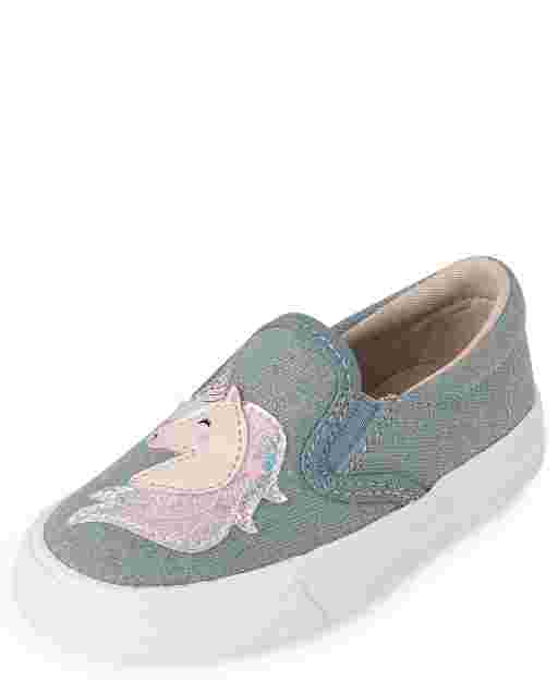 Toddler Girls Glitter Unicorn Denim Slip On Sneakers