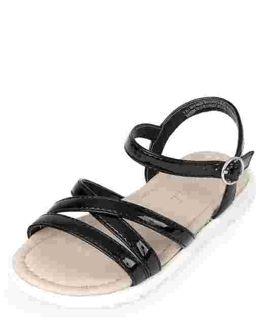 Sandalias de tiras de piel sintética para niñas pequeñas