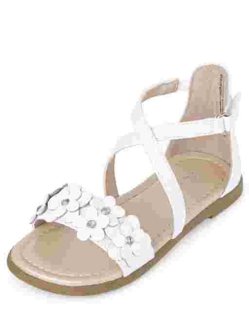 Toddler Girls Iridescent Flower Faux Leather Cross Strap Sandals