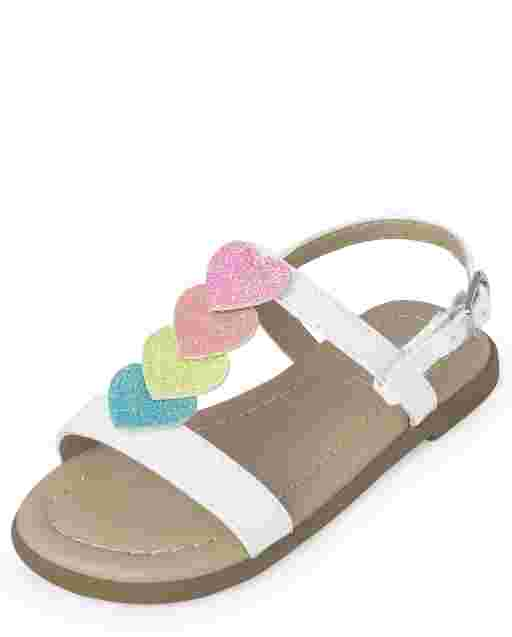 Toddler Girls Rainbow Heart T Strap Sandals