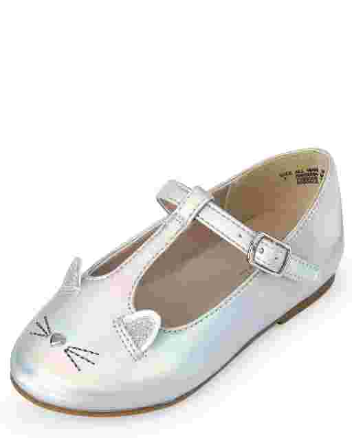 Toddler Girls Holographic Cat T Strap Ballet Flats