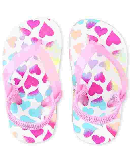 Toddler Girls Heart Flip Flops