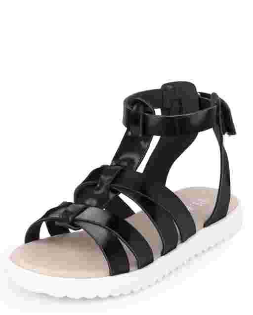 Sandalias de gladiador con tiras para niñas pequeñas