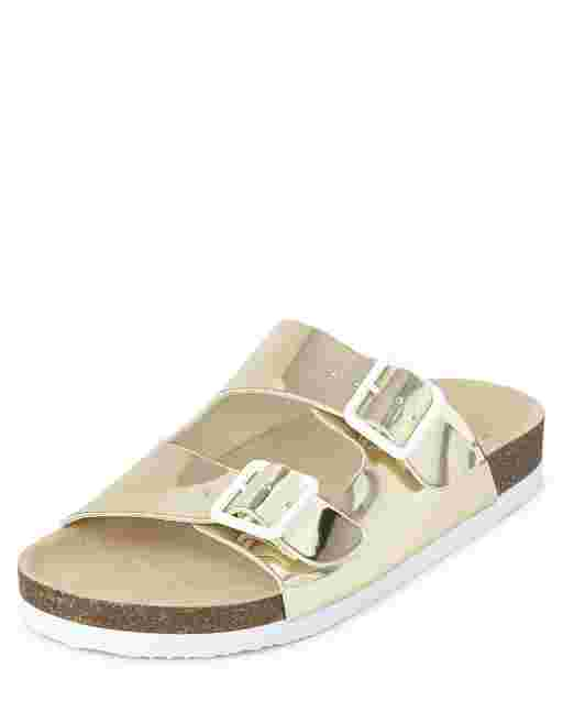 Girls Metallic Buckle Slide Sandals