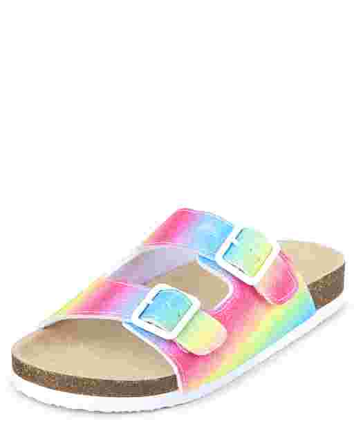 Girls Rainbow Glitter Buckle Slide Sandals