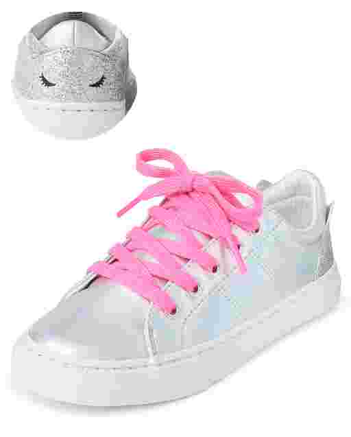 Girls Holographic Cat Low Top Sneakers