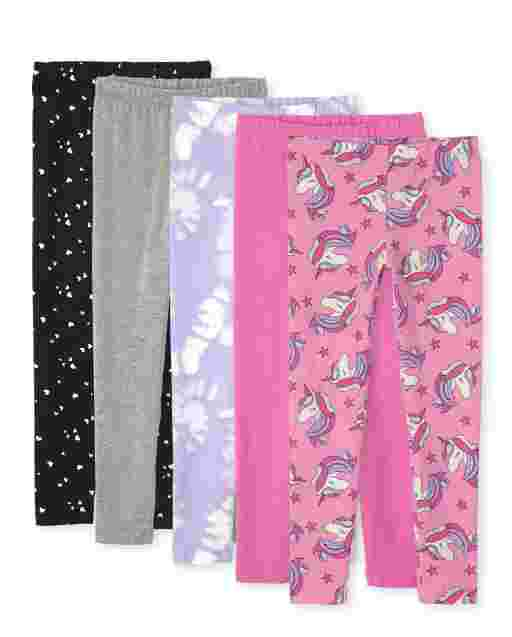 Pack de 5 leggings de punto estampados para niñas