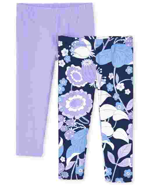 Girls Floral Print And Solid Knit Capri Leggings 2-Pack