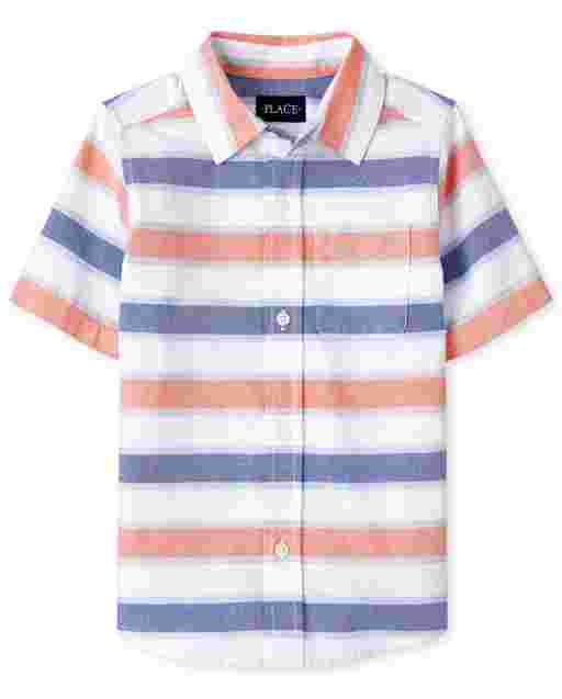 Boys Short Sleeve Striped Oxford Button Down Shirt