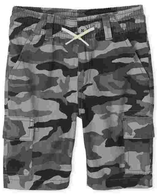 Boys Camo Woven Pull On Cargo Shorts