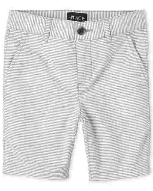 Boys Striped Woven Chino Shorts