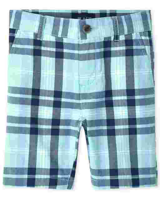 Boys Plaid Woven Chino Shorts