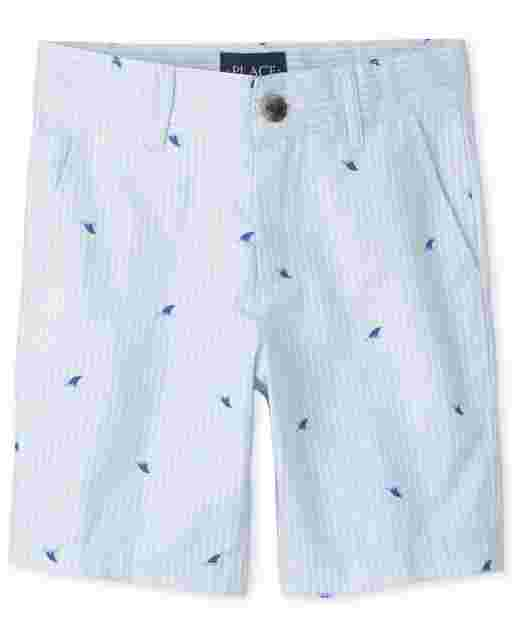 Boys Striped Oxford Chino Shorts
