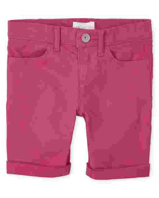 Girls Roll Cuff Twill Skimmer Shorts