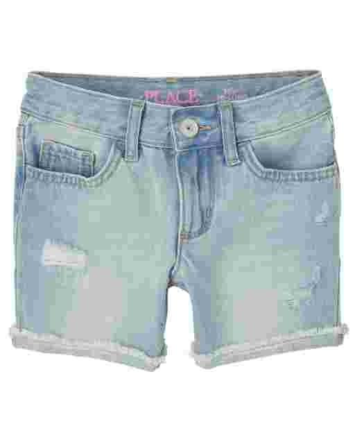Girls Distressed Denim Midi Shorts