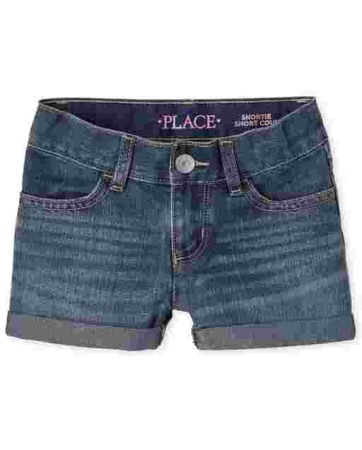 Girls Roll Cuff Denim Shortie Shorts