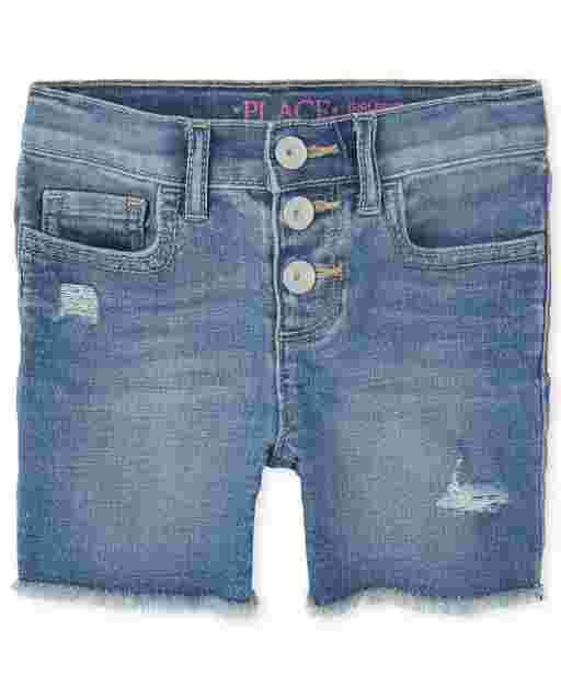 Girls Button Front Distressed Denim Girlfriend Shorts
