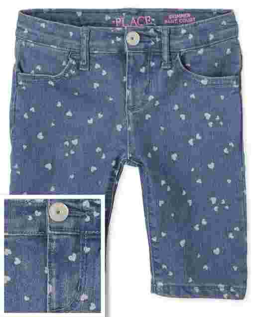 Girls Heart Print Denim Skimmer Shorts