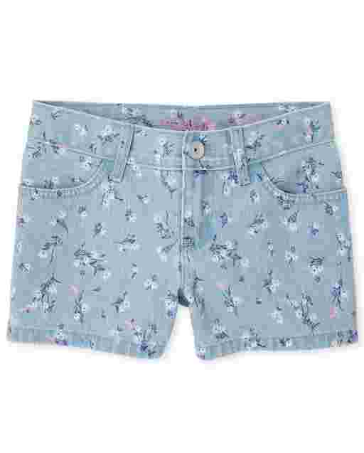 Girls Floral Print Twill Shortie Shorts