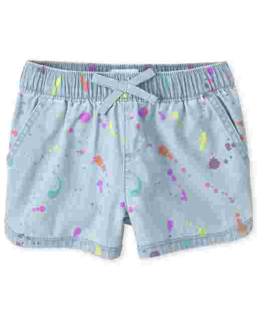Girls Paint Splatter Print Denim Pull On Shorts
