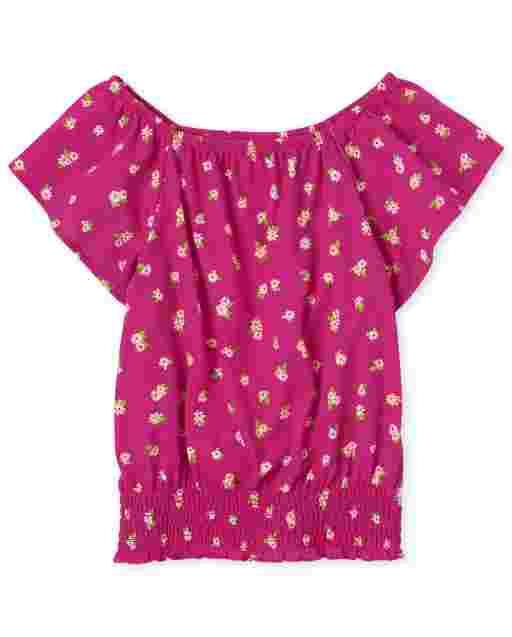 Girls Short Sleeve Floral Print Smocked Top
