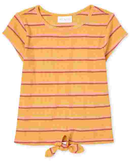 Girls Short Sleeve Striped Ribbed Tie Front Top