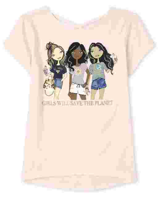 Girls Short Sleeve 'Girls Will Save The Planet' Graphic Cross Back Top